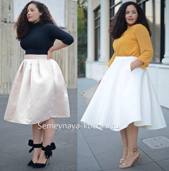 белые юбки на полных