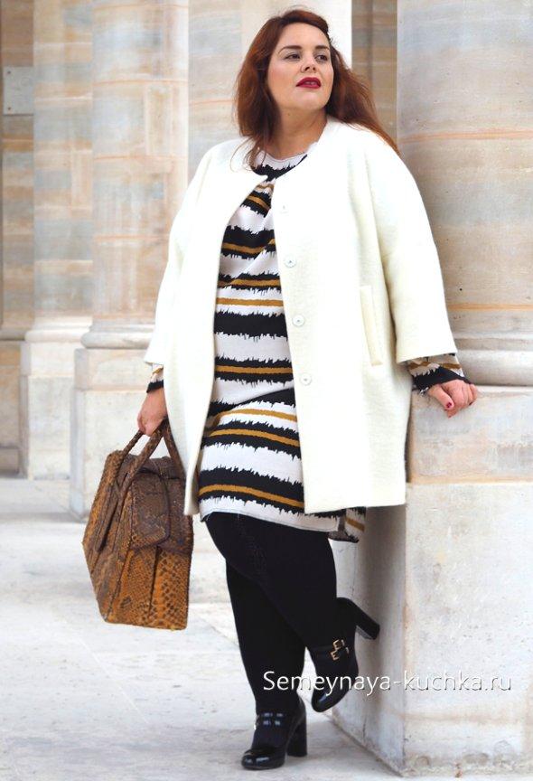 белое пальто для полных