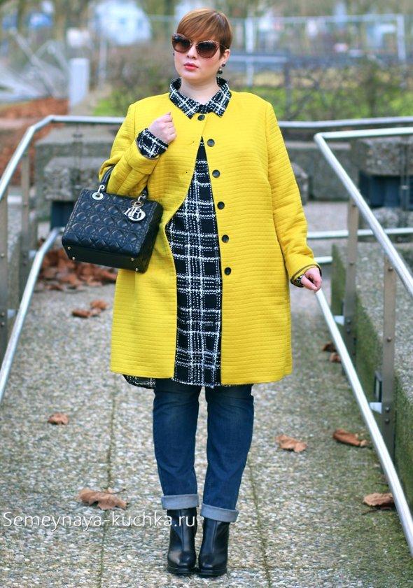 желтое пальто для полных