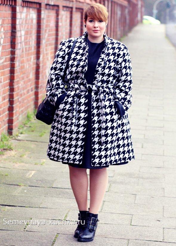 черно-белое пальто для полных