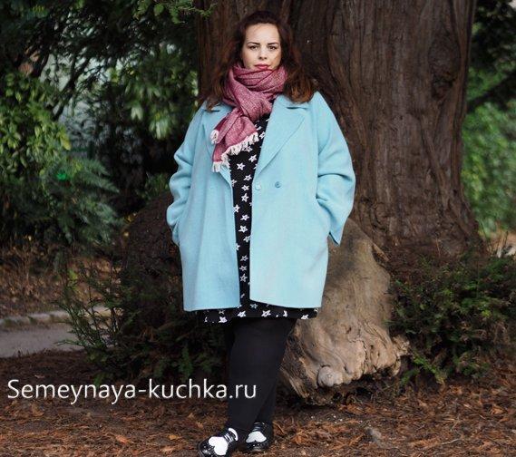 бирюзовое пальто оверсайз для полных
