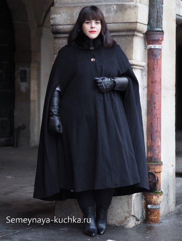 пальто-пончо для полных