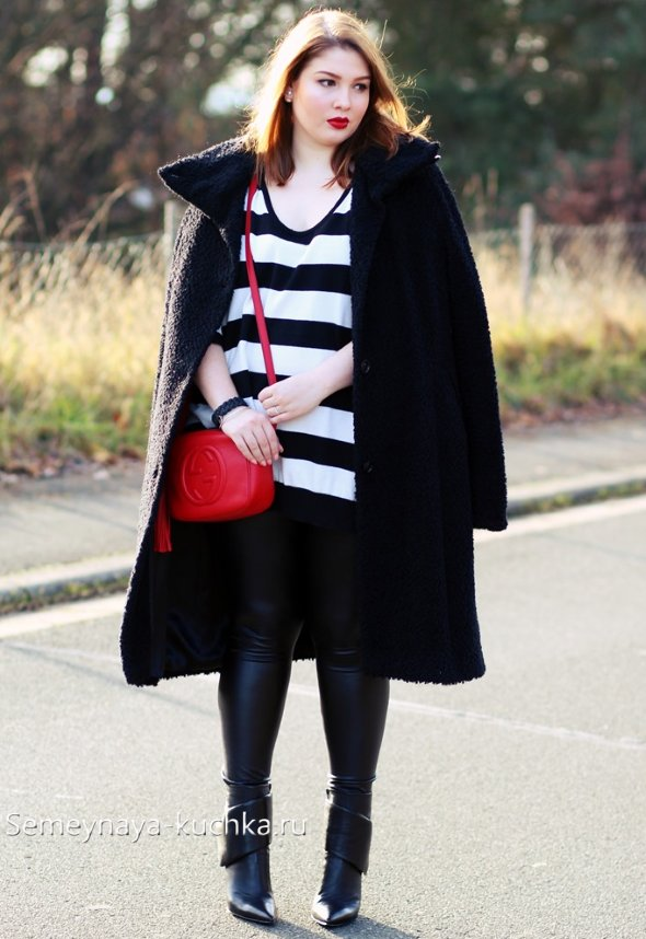 как носить черное пальто полным женщинам