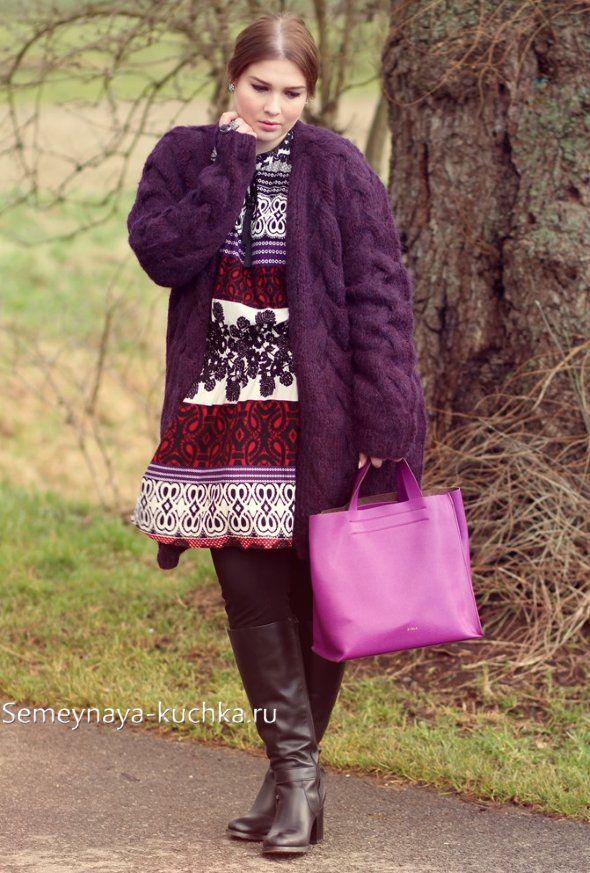 вязаное пальто для полны