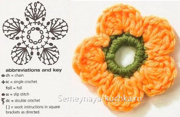простая схема маленького цветка крючком