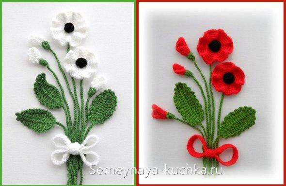 вязаные цветы на открытках