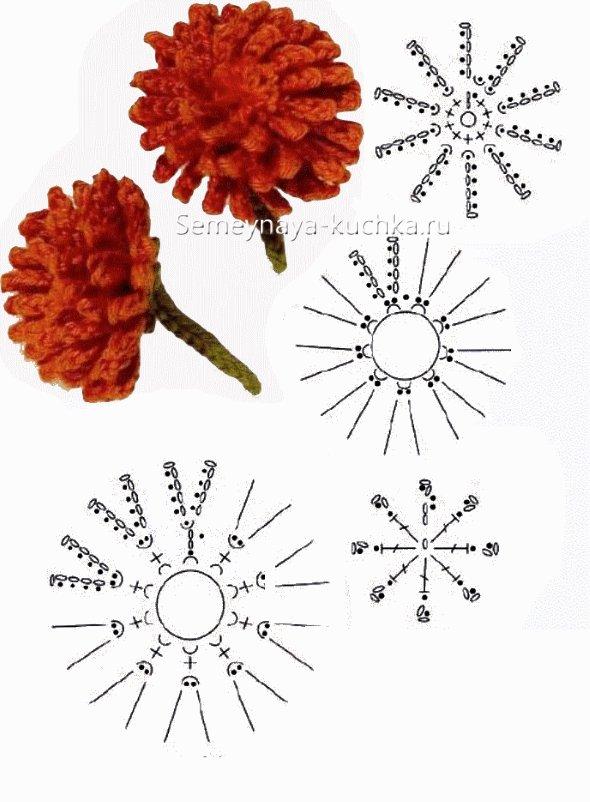 объемный одуванчик цветок крючком