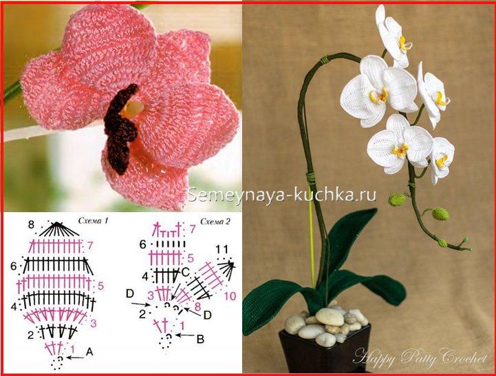 вязанные цветы орхидеи