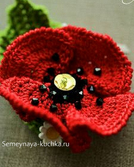 объемный цветок мак крючком