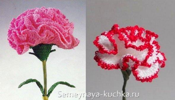 как связать объемный цветок крючком