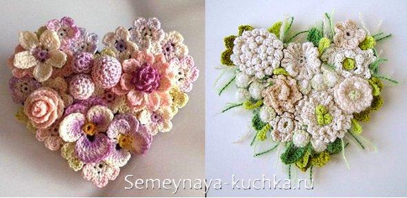сердечко крючком из цветов