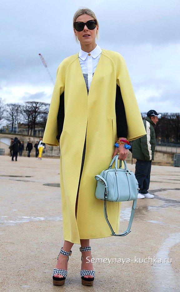 длинное пальто пончо