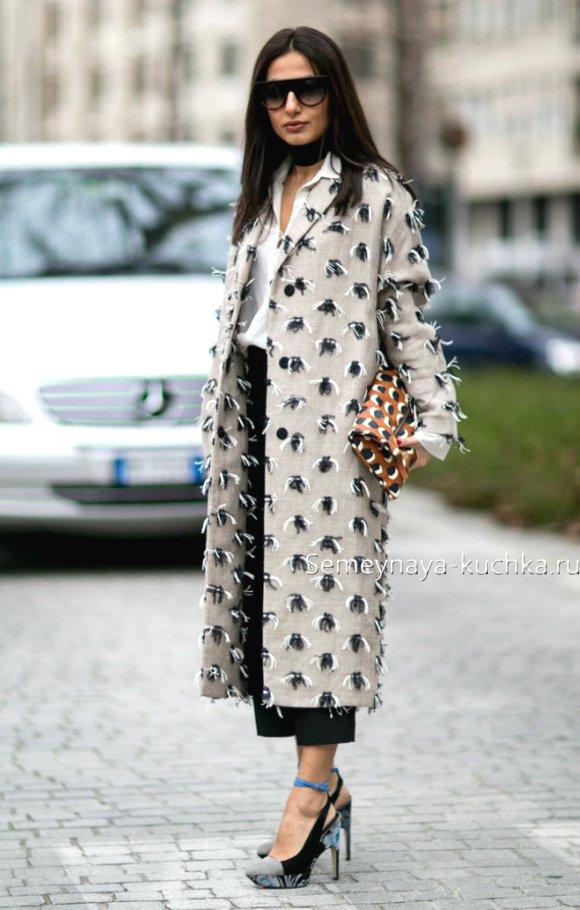 длинное пальто с брюками
