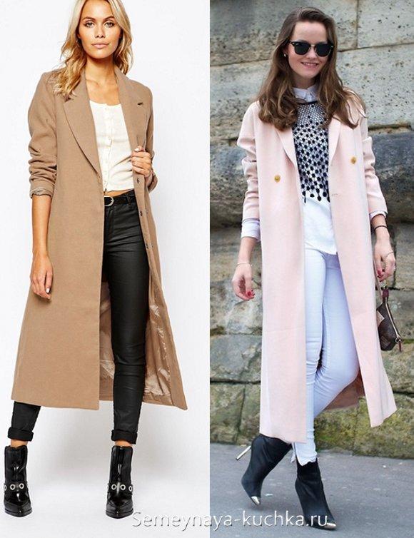 пальто с длинным платьем