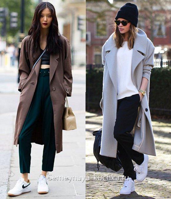 с какой обувью носить длинное пальто