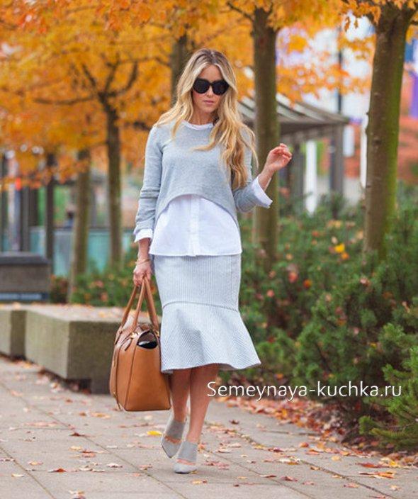 с чем носить юбку годе осенью