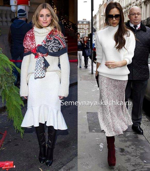 как носить юбку годе осенью и зимой