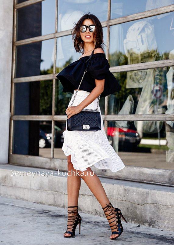 летняя белая юбка годе