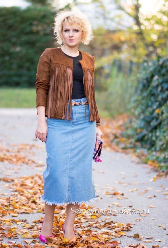 прямая джинсовая юбка