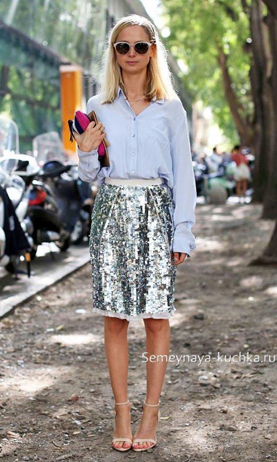 блестящие юбки прямого кроя