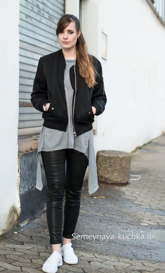 кожаная куртка с туникой