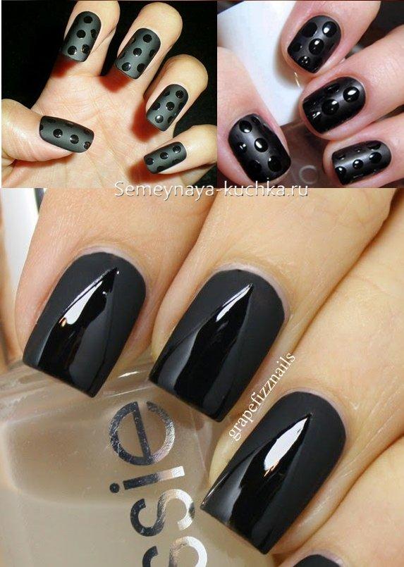 черные матовые ногти дизайн