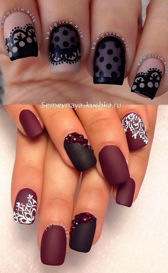 матовые ногти с кружевом