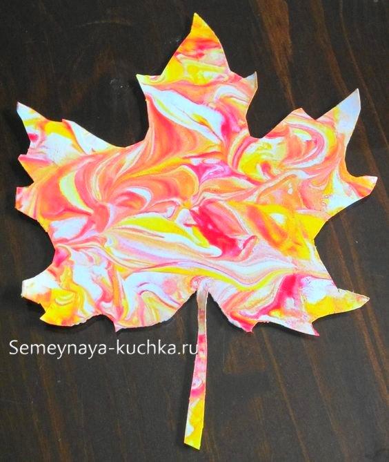 поделки листики осенние краска