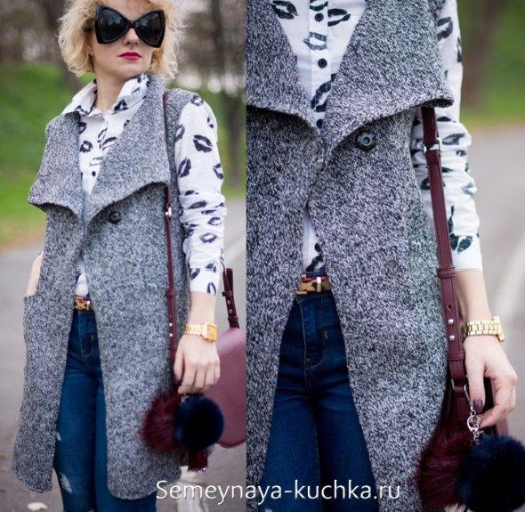 вязаное пальто безрукавка