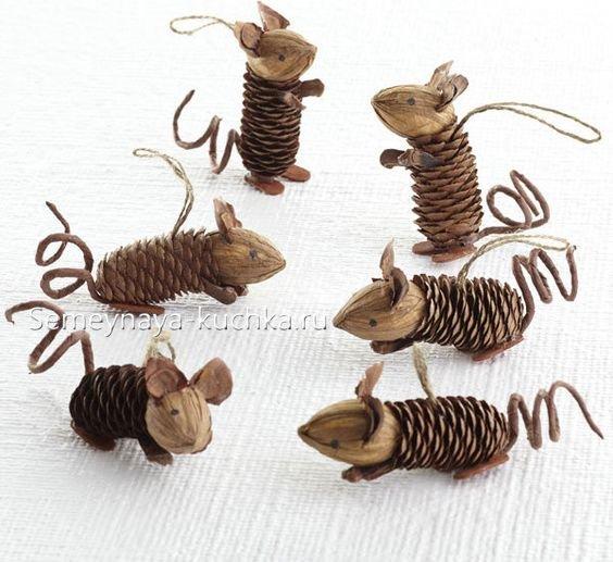 поделки совы из шишек