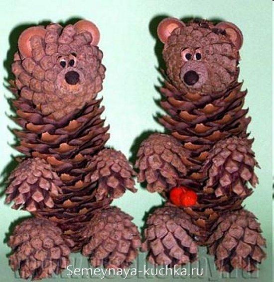 медведи из шишек своими руками