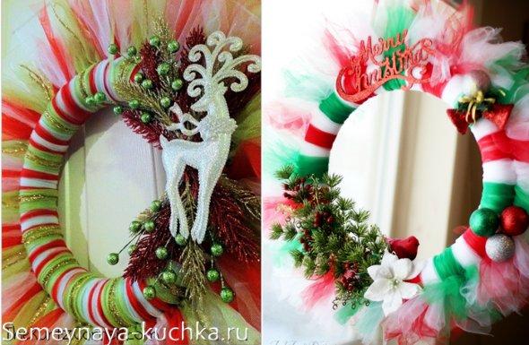 рождественский венок из фатина