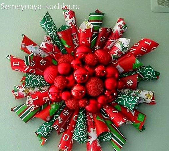 новогодний венок из бумажных трубочек
