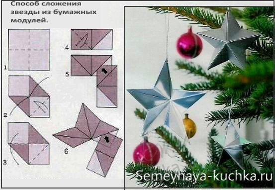 как сложить звезду из бумажных модулей