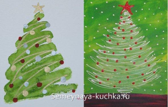 быстрый способ нарисовать елку