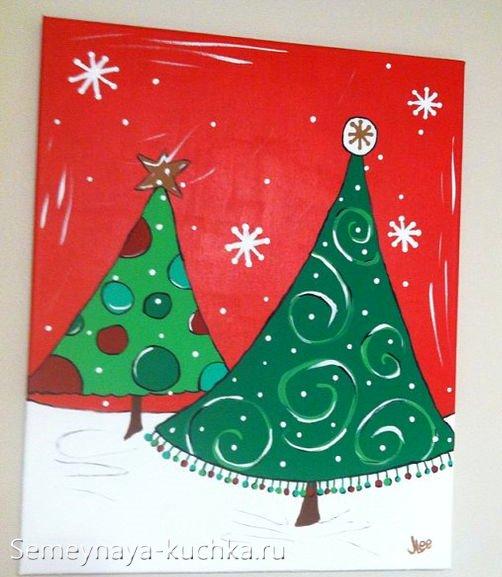 простая новогодняя елка рисуем с детьми