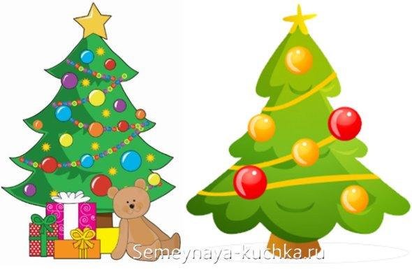 новогодняя елка простые рисунки для детей