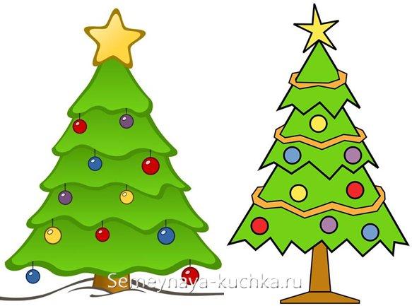 риснок новогодней елки для детей