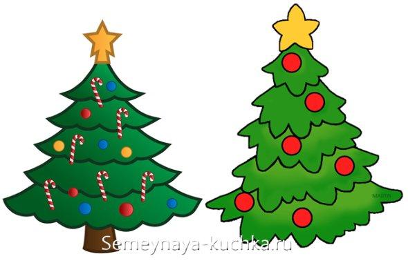 способ нарисовать елку на новый год