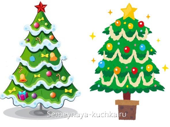 как нарисовать новогоднюю елку