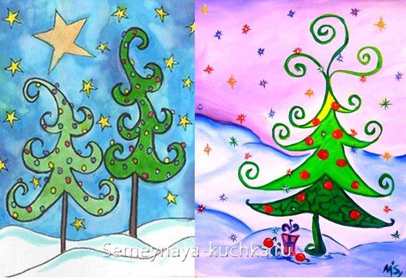 как дети рисуют новогодние елки