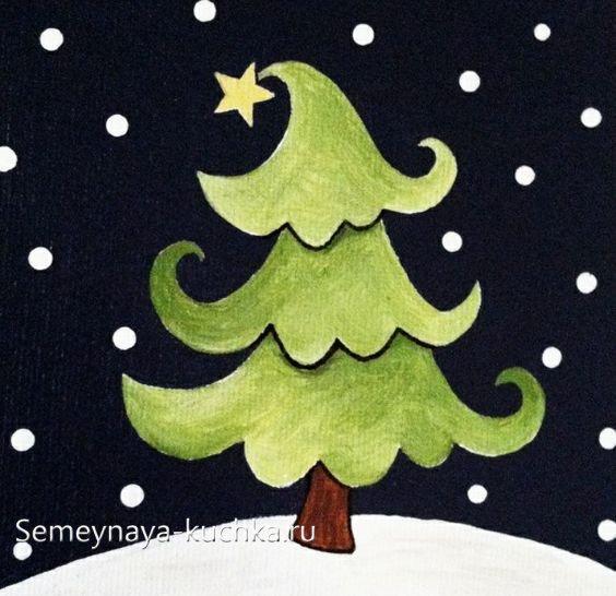 как нарисовать сказочную елку