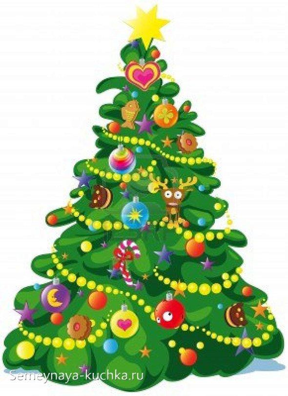простой способ нарисовать новогоднюю елку