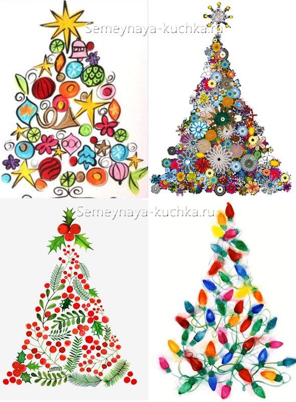 как нарисовать оригинальную елку на новогоднем рисунке