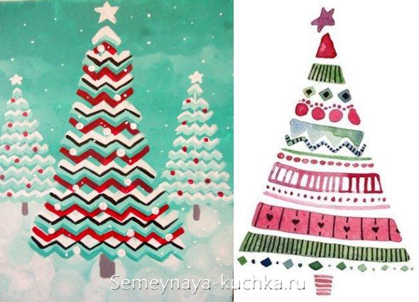 оригинальный способ нарисовать новогоднюю елку