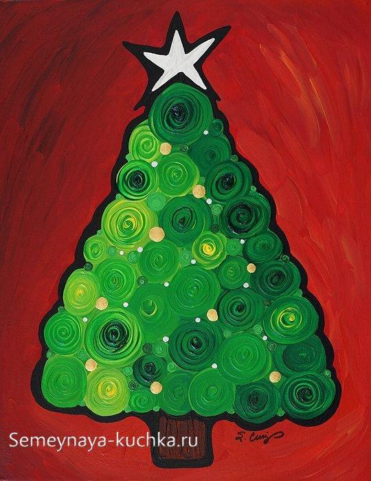 рисунок елки красками простой способ для детей