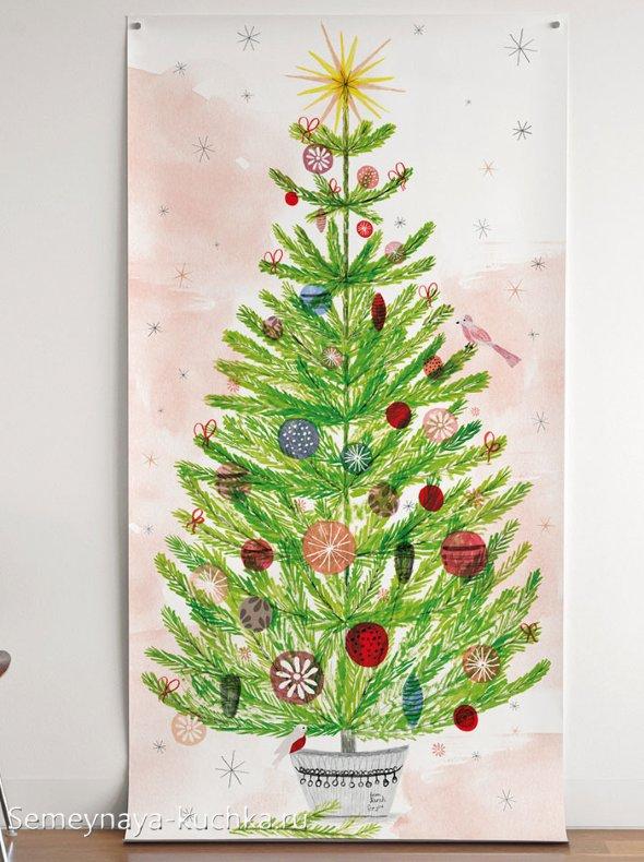 как нарисовать новогоднюю елку с детьми