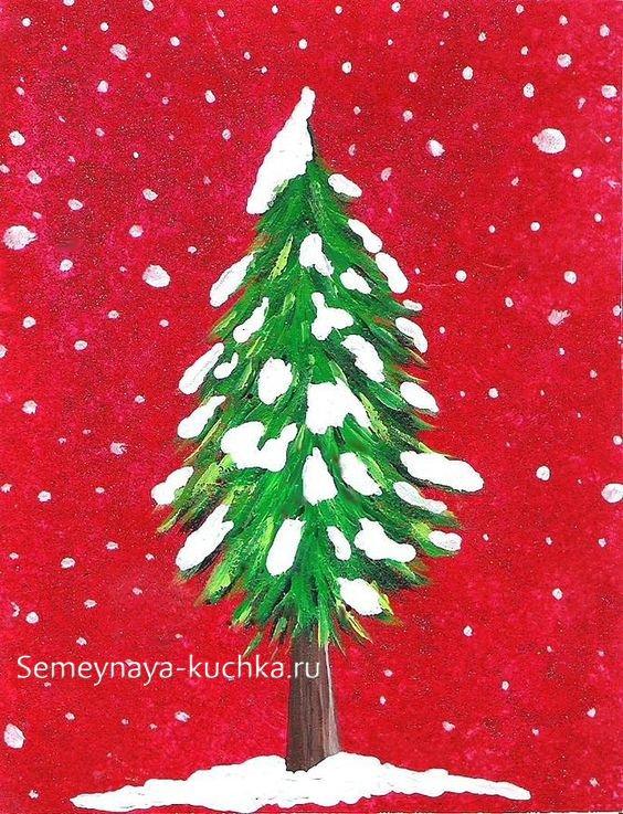 как быстро нарисовать елку простым способом