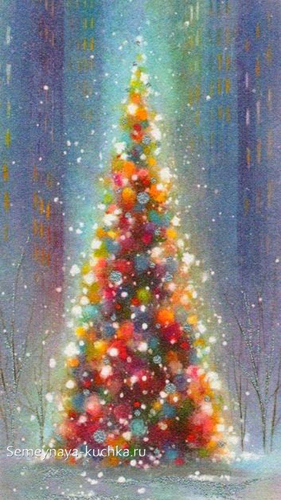 как нарисовать новогоднюю елку в сиянии огней