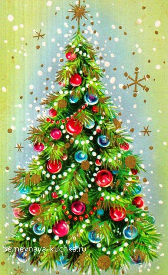 как нарисовать новогоднюю елку с шарами и бусами